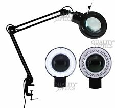 LED 8X Desk Table Clamp Mount Magnifier Lamp Light Magnifying Glass Lens Diopter