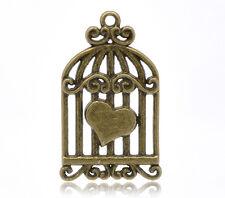 20 Pendentifs Charms Cage Oiseau Coeur Bronze 34x20mm