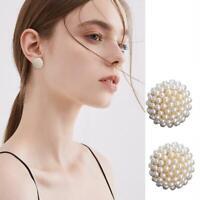Frauen weiße Perlen Perle vergoldete Ohrringe Ohrstecker Piercing Schmuck