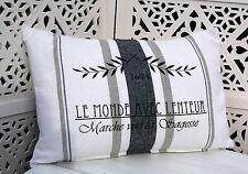 Kissenbezug LOUANNE Weiß/Grau 40x60 Shabby Chic Vintage Landhausstil cushion