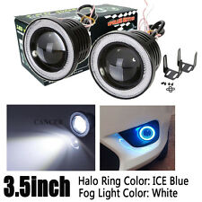 3.5inch 3200Lm White LED Driving Fog Light + Ice Blue Angel Eyes Halo Ring Auto