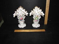 Pair Old Paris Vases with Floral painting, applied grapes & Flared Tops- 1 as is