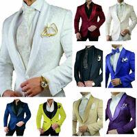 Vintage Men Suits Groom Jackets Blazers Slim Fit Jacquard Double Vented Business