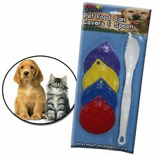 Set of 4 Pet Dog Cat Food Can Covers With Spoon Fork