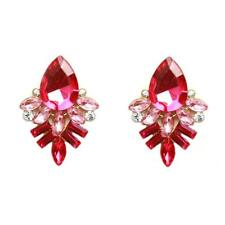 Crystal Rhinestone Glass Ear Stud Water Drop Pattern Earrings Fashion Jewelry Red