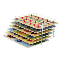 6 Wooden Peg Puzzles with Wire Storage Rack Set - ABC, Numbers, Shapes, More