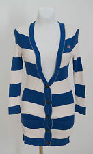 WOMENS HOLLISTER CARDIGAN JUMPER 100 % COTTON BLUE WHITE STRIPED SIZE XS XSMALL