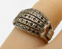 925 Sterling Silver - Vintage Marcasite Band Ring Sz 6.5 - R2097
