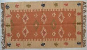Kelim Teppich Wolle Indisch 150x90cm 1.5x0.9m Kastanienbraun Navy Handmade Stil