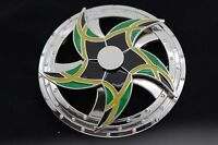 Men Women Silver Metal Buckle Round Spinning Arrows Green Star Circle Jamaica