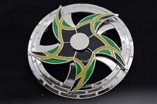Spinning Arrows Green Star Circle Jamaica Men Women Silver Metal Buckle Round