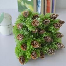 7 branches Useful Pine Cones Fake Plants Tree for Christmas Party Decor Grass.