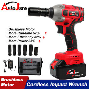 "1/2"" 20V Brushless Impact Wrench Torque Rattle Gun kit Electric cordless battery"