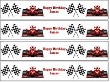 Red Racing Car and Chequered Flag Edible Icing Cake Topper  Cake Side Strips