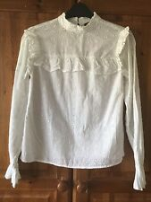 White Broderie Anglaise Long Sleeved Classic Blouse Size UK 6