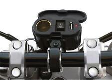 Carica Batteria Cellulare Navigatore USB Presa Accendisigari Moto Nero Manubrio