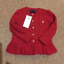 RALPH LAUREN BABY girls CARDIGAN RED 18M BNEW