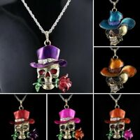 Fashion Crystal Skull Rose Pendant Necklace Men Jewelry Mother's Day Gift New