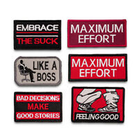 Biker Sayings Embroidered Sew On Hook Loop Patch Badge Fabric Cap Craft Sticker