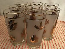 Vintage Mid Century 'LIBBEY' Glasses Set 8 Gold Leaf Frosted Tumblers Retro
