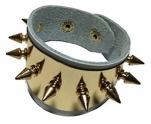 Harley Quinn White Leather Metal Spikes Cuff Bracelet Set Of 2 (TWO)