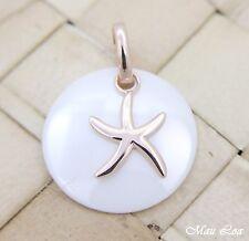 PLATA 925 Rosa Oro HAWÁI Estrella de mar Cerámica Blanca Colgante círculo