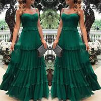 ❤️ Women's Strappy Ruffle Maxi Dress Summer Evening Cocktail Party Long Sundress