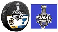 2019 NHL STANLEY CUP FINAL PUCK & ST. LOUIS BLUES STICKER DUELING BOSTON BRUINS