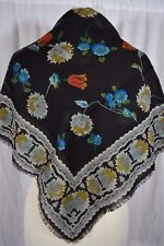 VINTAGE large Italian black wool scarf shawl with Indian style floral pattern