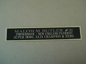 Malcolm Butler Patriots Autograph Nameplate For A Football Jersey Case 1.25 X 6