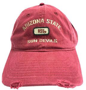 NCAA by Signatures ASU Sun Devils Maroon Distressed Adjustable Buckle Strap Hat