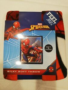 "MARVEL SPIDERMAN KIDS 40""X 50"" SUPER SOFT SILKY THROW BLANKET NEW PLUSH BLANKET"