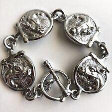 Arthur Court Jewelry Link Panel Bracelet Aluminium 8in Equestrian Horse Racing
