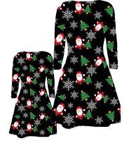 BABIES GIRLS MOTHER DAUGHTER SANTA TREE SNOW FLAKES XMAS CHRISTMAS SWING DRESS