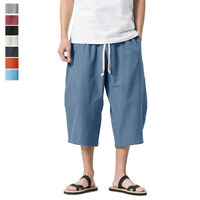Loose Fit Men's Linen Harem Shorts Baggy 3/4 Capri Yoga Pants Deep Pocket Shorts