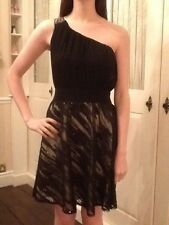 Little Mistress 12- 1 shoulder embellished black dress Size12 Occasion/Prom BNWT