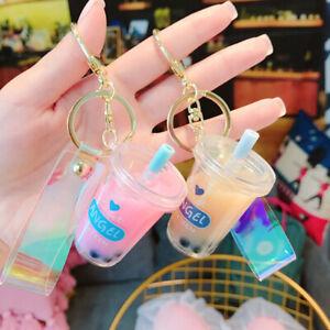 Cute Creative Mini Soft Drink Keychain Bubble Tea Acrylic Keyrings Jewelry Gi FT