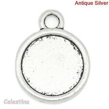 10 Round Silver Cabochon Settings Bezel Trays 19mm x 15mm Metal Pendants
