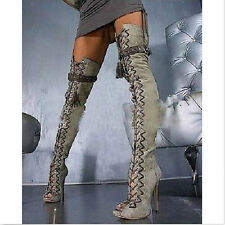 Sexy  Women's Over The Knee High Heel Boots Peep Toe Leg Tall Gladiato New Shoes