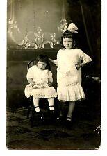 Sisters-Siblings-Little Girls-Hair Bow-Studio RPPC-Vintage Real Photo Postcard