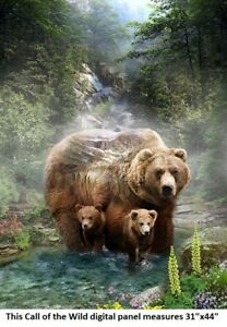 """Call of the Wild Digital Panel cotton quilt fabric Hoffman 31x44"""" Grizzly Bear"""