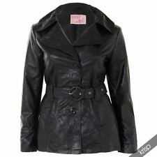 Leather Solid Regular Size Coats & Jackets Trench for Women