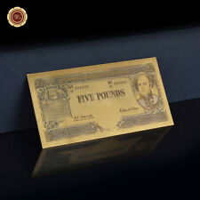 WR 24K Gold Foil Australian Banknote 5 Pound Note Old Paper Money Collection
