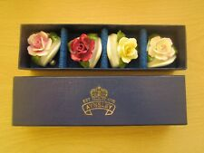 4 AYNSLEY ROSES PLACE CARD HOLDERS, HAND PAINTED, ENGLAND