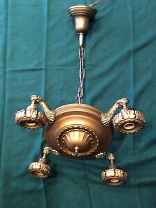 Antique Original Finish Four Arm Hanging Pan Light Restored