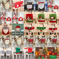Christmas Santa Elk Snowman Hat Dining Chair Back Covers Party Xmas Table Decor