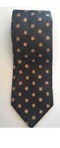Trent Nathan Men's Tie Silk Italian Khaki Geometric Pattern