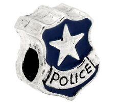 Police Badge Blue Enamel Officer Law Enforcement Cop Charm for European Bracelet