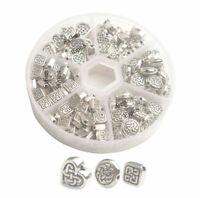 130PCS//Box Antiqued Silver Metal Bail Beads Fit European Charm Bracelet