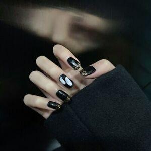 Gothic Black Glitter Tips Fake Nails Full Artificial False Press On Nail Tips